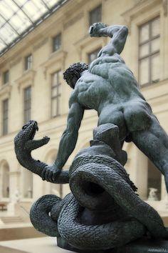 Bronze Sculpture- Hercules fighting Achelous - Francoise Joseph Bosio, 1824, Musée du Louvre in Paris