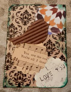 OOAK ACEO ATC collage and ink I Love You Birdie by PaperPastiche, $5.00