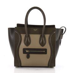 5a2a8b3228dd Celine Luggage Green Leather Handbag