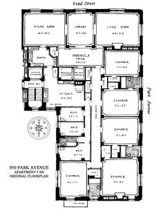 Townhouse Apartments, New York Apartments, New York Homes, Craftsman Floor Plans, House Floor Plans, Luxury Floor Plans, Dream Home Design, House Design, Apartment Floor Plans