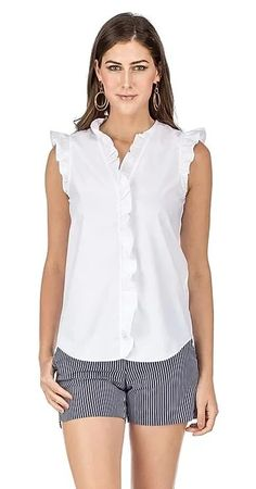 This classic coton blouse is great for work or play! It has ruffled detailing and buttons down the front. Ruffle Sleeve, Ruffle Blouse, V Neck Blouse, Ruffles, Button Downs, Rompers, Tops, Blouses, Buttons
