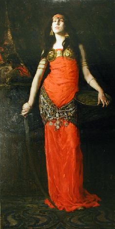 """"""" Salome F. Luis Mora (American, Oil on canvas. Mora's full-length depiction of Salome is the most provocative of his work. Salome has been a popular subject, painted by artists of the past including Botticelli, Titian,. Jeanne Lanvin, L'art Adolescent, Vintage Dance, John Everett Millais, Mata Hari, Jean Baptiste, John The Baptist, Tribal Fusion, Belly Dancers"""