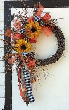 Extra Large Sunflowers in Grapevine Wreath by GreeneCountyFlorist, $85.00