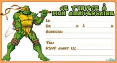 invitation anniversaire tortue ninja michelangelo