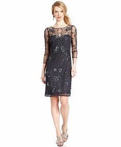 Macys $199 like this too!Patra Three-Quarter-Sleeve Illusion Beaded Sheath