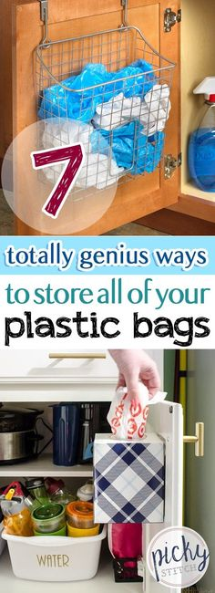 7 Totally Genius Ways to Store All of Your Plastic Bags Looking for more storage and organization? Try these plastic bag storage methods! Storing Plastic Bags, Plastic Bag Storage, Fabric Storage, Small Closet Space, Small Closets, Small Spaces, Storage Hacks, Craft Storage, Organization Ideas