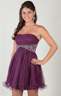Deb Shops strapless glitter mesh #homecoming #dress with chunky stone waist and a-line skirt