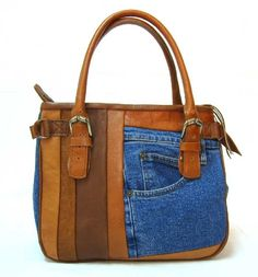 Denim+Bags   Recycled Jean Handbags - Patchwork Leather
