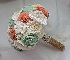 Handmade Wedding Bouquet Medium Peach Mint by CuriousFloralCrafts, $90.00