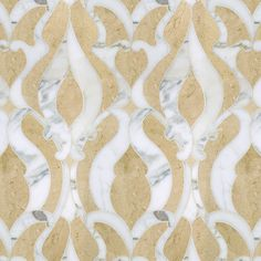 Damask Classique Polished Water Jet Mosaic Tile | Polished Crema Marfil limestone background, various tones of warm beige accented by grey and gold pencil veins with blush undertones with polished Calacata Gold marble patterning, milk white accented by soft grey and gold.