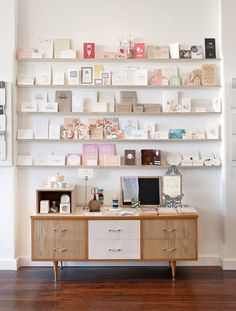 cards on shelves for inspiration and creativity