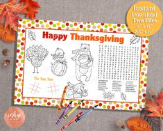 Excited to share the latest addition to my #etsy shop: Kids Thanksgiving Activity Placemat   Thanksgiving Printables for Kids   Thanksgiving Fun Kids Activity Page Kids Placemat INSTANT DOWNLOAD