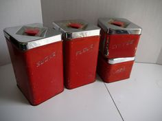 Canette 4 piece canister set  RED and chrome  by PlainsStatePicker, $27.50