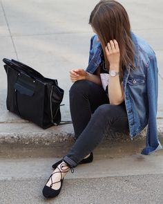A Little Detail - Karl & Rebecca #outfit #ootd #laceupflats #denimjeans #denimjeacket #tote #rebeccaminkoff #karllagerfeld #graphictshirt #womensfashion