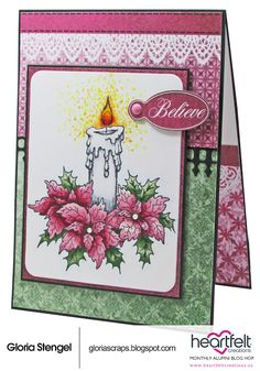 Scraps of Life: Heartfelt Creations November Blog Hop; Nov 2016 #scrapsoflife #heartfeltcreations #christmascard  NTS: use Tim candle die and poinsettia stamps I already have