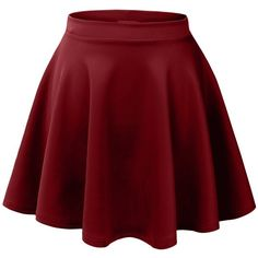 MBJ Womens Basic Versatile Stretchy Flared Skater Skirt ($6.89) ❤ liked on Polyvore featuring skirts, bottoms, saias, faldas, stretchy skirts, circle skirt, flare skirt, red flare skirt and red circle skirt