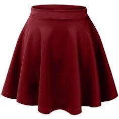 MBJ Womens Basic Versatile Stretchy Flared Skater Skirt ($6.89) ❤ liked on Polyvore featuring skirts, bottoms, saias, faldas, skater skirt, red skirt, circle skirt, red skater skirt and flared hem skirt