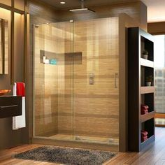 "VIGO Elan 64"" W x 74"" H Single Sliding Frameless Shower Door with RollerDisk™ Technology & Reviews 