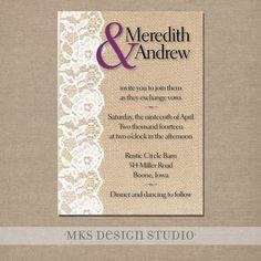 Wedding Invitation Rustic Burlap with Lace by MKSDesignStudio, $25.00