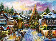 Original ACEO Christmas Eve Winter City Tree Lights Vintage Holidays M. Mishkova