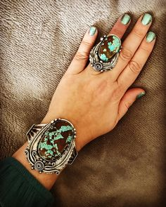 Turquoise bracelet and ring. Moon Jewelry, Turquoise Jewelry, Turquoise Cuff, Turquoise Bracelet, Native American Jewelry, Mint, Indian Jewelry, Jewelery, Vintage Jewelry