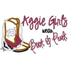 Aggie Girls Boots and Pearls Applique