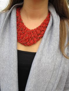 red statement necklace #fringeandlace #redbeads