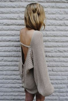Big sweater! Good for a summer nights fire:)