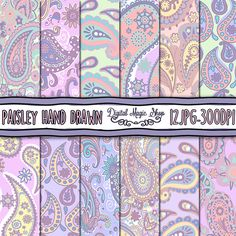 Pastel Paisley Digital Paper, Hand Drawn, Seamless pattern - 12pcs 300dpi (paper crafts, card making, scrapbooking) Commercial use by DigitalMagicShop on Etsy