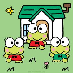 Keroppi and his brother Koroppi and his sister Pikki!