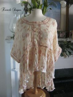 French Sugar Couture - Linen and Lace Collection - Vintage 1980's Up-Cycled Blouse - 75.00 by frenchsugarcouture on Etsy