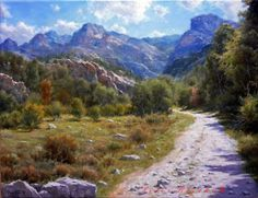 Watercolor Landscape, Landscape Art, Landscape Paintings, Classical Realism, Beautiful Roads, Farm Art, Classic Paintings, Mountain Paintings, Traditional Landscape