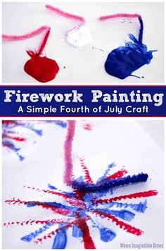 A simple painting craft is that's an easy Fourth of July craft for kids! Use pipe cleaners & paint to make fireworks!  Simple art for toddlers and preschoolers for the 4th of July.  #kidscrafts #artforkids #fourthofjuly
