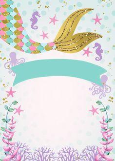 Mermaid or under the sea birthday invitation zazzle com Mermaid Theme Birthday, Little Mermaid Birthday, Little Mermaid Parties, Diy Birthday, Mermaid Party Decorations, Birthday Party Decorations, Mermaid Invitations, Birthday Party Invitations, Barbie