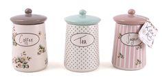 Set of 3 Katie Alice Cottage Flower Ceramic Shabby Chic Storage Jars