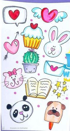 Art Drawings For Kids, Art Drawings Sketches, Easy Drawings, Cute Doodle Art, Doodle Art Drawing, Doodle Kids, Love Doodles, Kawaii Doodles, Bullet Journal Banner