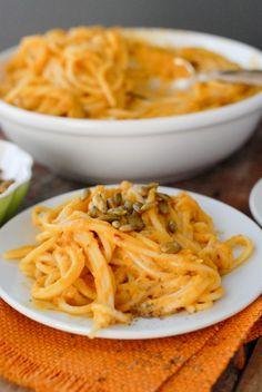 Pumpkin Chipotle Cream Pasta (use #glutenfree brown rice spaghetti) | #vegetarian