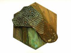 Moniek Schrijer,Brooch,  'Landscape View'  Rimu, sterling silver, copper, brass, bronze, glass, paint