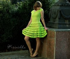 Dress flared skirt dress color lime dress style new от krinichka