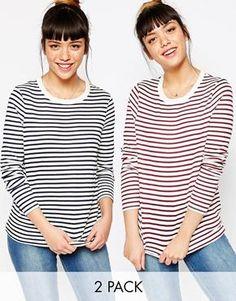 Pack de 2 camisetas de manga larga con cuello redondo y diseño ribeteado a rayas de ASOS, ahorra un 10%