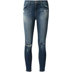 J Brand Distressed Skinny Jeans ($230) ❤ liked on Polyvore featuring jeans, pants, bottoms, calças, pantalon, blue, j-brand skinny jeans, ripped blue jeans, destroyed skinny jeans and ripped skinny jeans