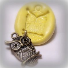 kawaii owl mold - flexible silicone push mold / craft/ dessert/ mini food / soap mold/ resin/jewelry and more.