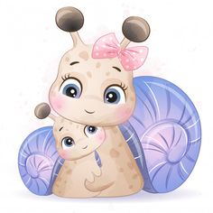 Pequeño caracol lindo madre y bebé Vecto. Panda Illustration, Unicorn Illustration, Boat Cartoon, Deer Cartoon, Baby Animal Drawings, Cute Drawings, Pen Drawings, Cute Images, Cute Pictures