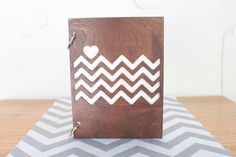Chevron love stained wood journal. $14.00, via Etsy.