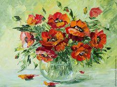 """Купить Картина """"Букет маков в вазе"""" - ярко-красный, картина, картина маслом, картина в подарок"""