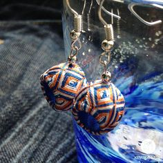 colourful blue & orange unusual handmade earrings by kinukaJapan
