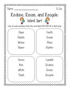 FREEBIE! A sort activity using the four R\'s: Reduce, Reuse ...