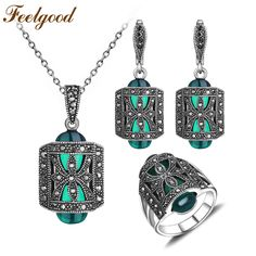 Feelgood Antique Silver and Green Resin Rhinestone Vintage Jewelry Sets For Women     Tag a friend who would love this!     FREE Shipping Worldwide | Brunei's largest e-commerce site.    Get it here ---> https://mybruneistore.com/feelgood-antique-silver-color-russia-jewellery-set-green-resin-and-rhinestone-fashion-vintage-jewelry-sets-for-women-mother-gift/