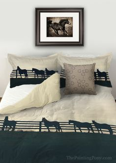 Horses at the Fence Equestrian Duvet Bedding Cover - The Painting Pony - great country western horse lover's home decor for the bedroom! Comes in twin, queen, and king sizes with matching pillow shams.