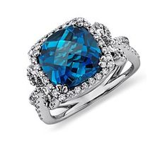 NEW London Blue Topaz and Diamond Scroll Ring in 14k White Gold
